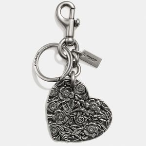 COACH Tooled Floral Heart Metal Bag Charm Key Ring